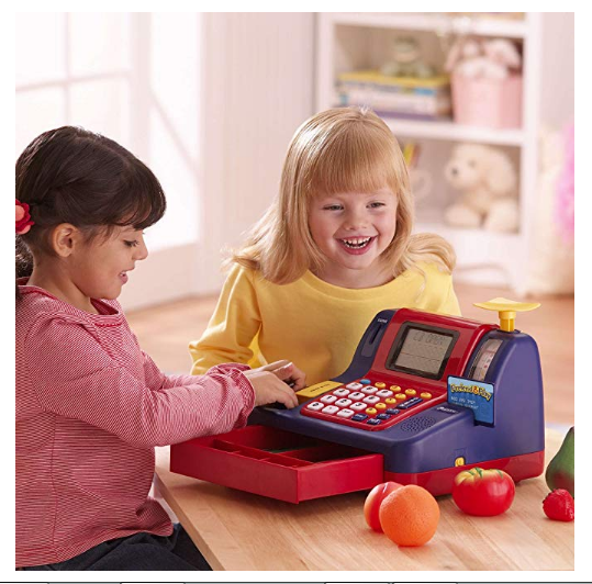 Learning Resources Cash Register offers open-ended play story lines.