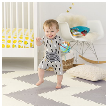 The Skip Hop Mat creates a safe zone for babies that are learning how to walk.