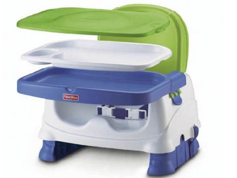 The Fisher-Price Healthy Care Booster Seat has three height adjustments.