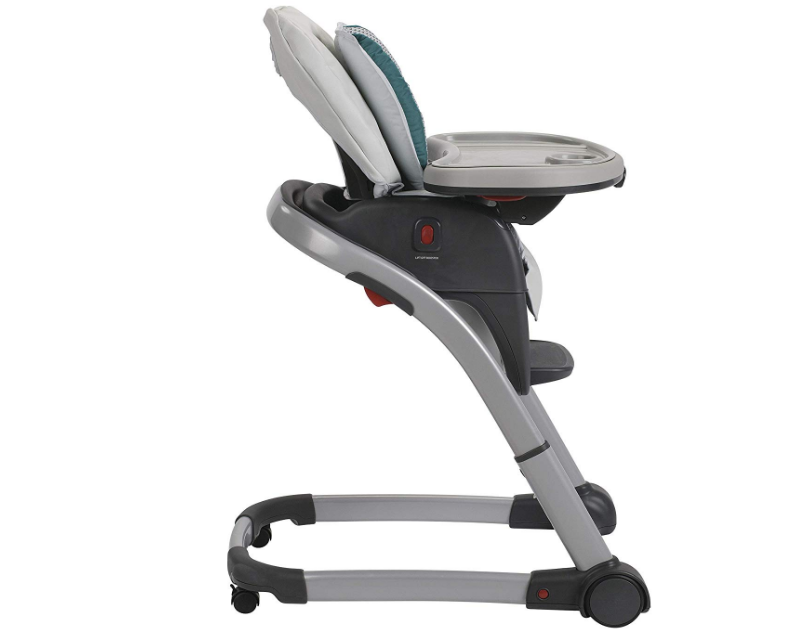 The Graco Blossom Highchair has wheels for easy transport.