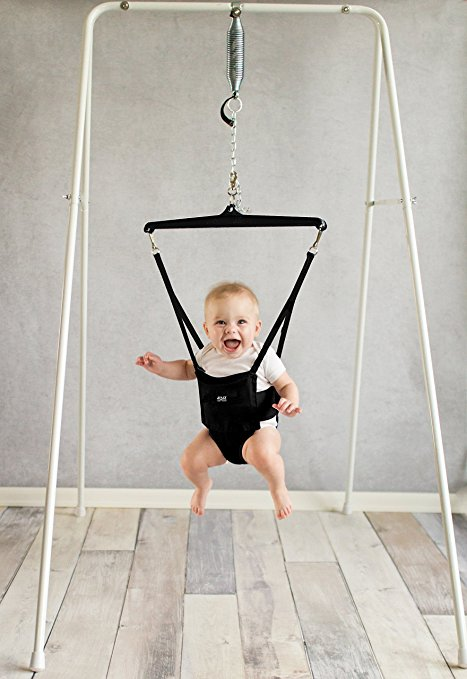 The Jolly Jumper has a portable stand you can move around the house.