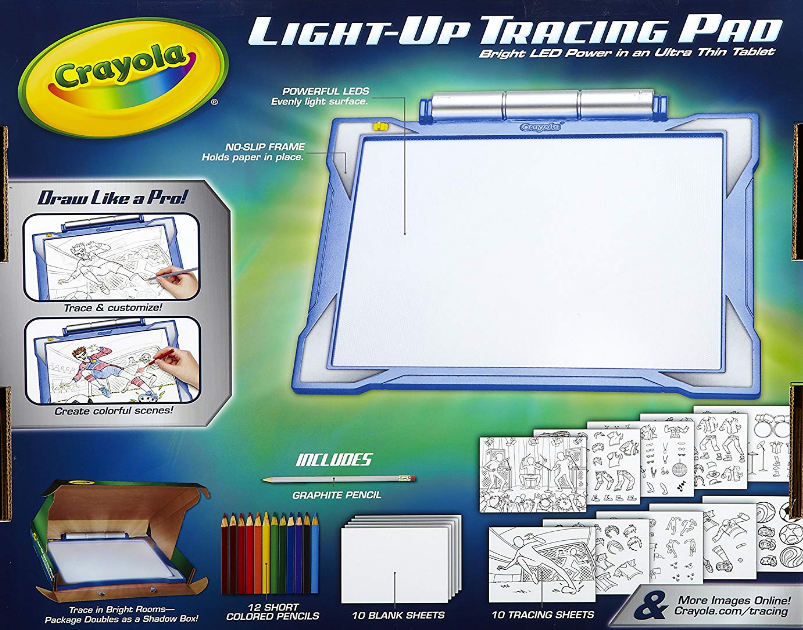 The Crayola Light-up Tracing Pad includes everything a young artist needs