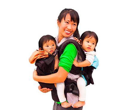The TwinGo Baby Carrier is designed to fit two babies.