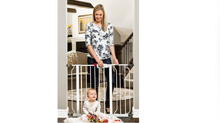 The Regalo Easy Step Baby Gate keeps crawlers out of unsafe places.