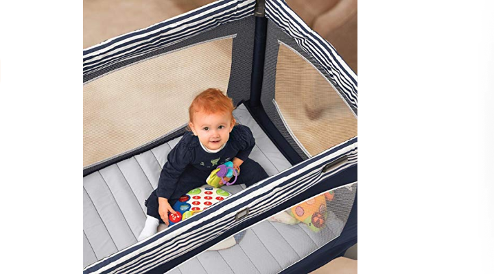 The Chicco Lullaby Baby Playard is a safe play space.