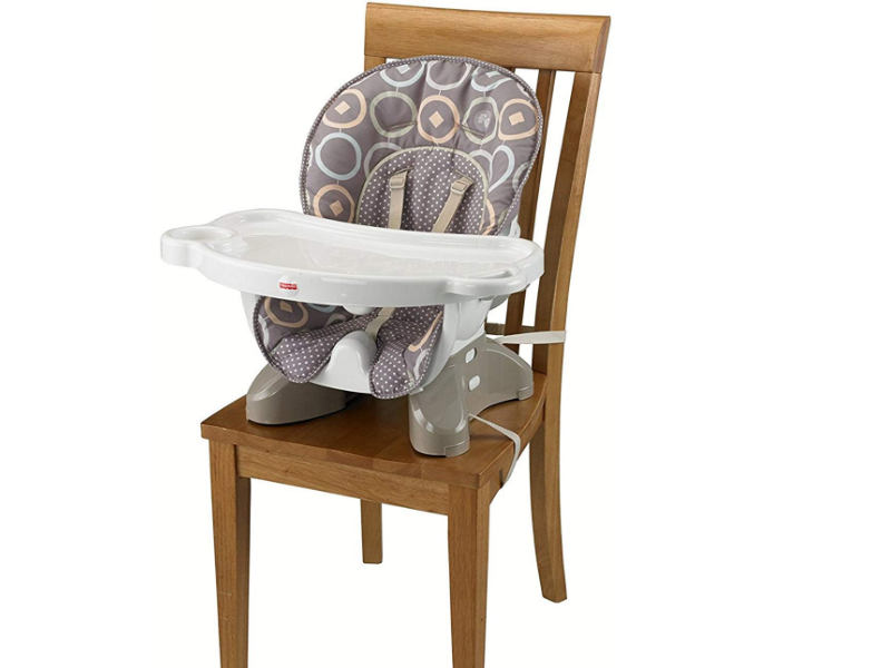 The Fisher-Price SpaceSaver can be attached to a regular chair.