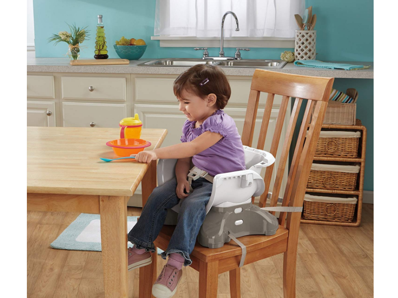 The Fisher-Price SpaceSaver High Chair can be used as a booster chair.