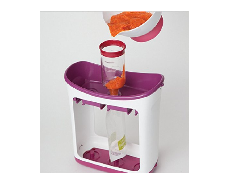The Infantino Squeeze Station Baby Food Maker is made from safe, non toxic plastic.