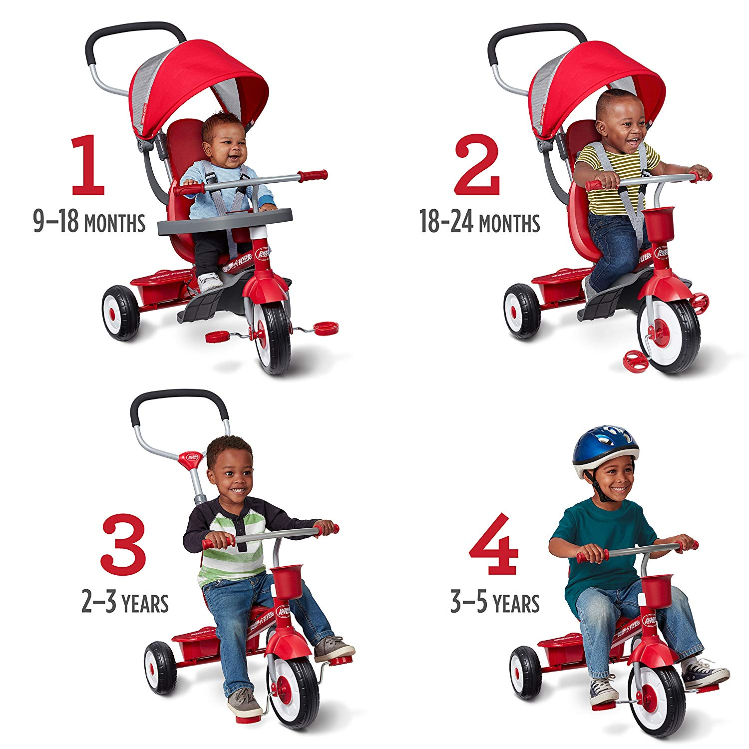 The Radio Flyer 4 In 1 Stroll N Trike grows with your children