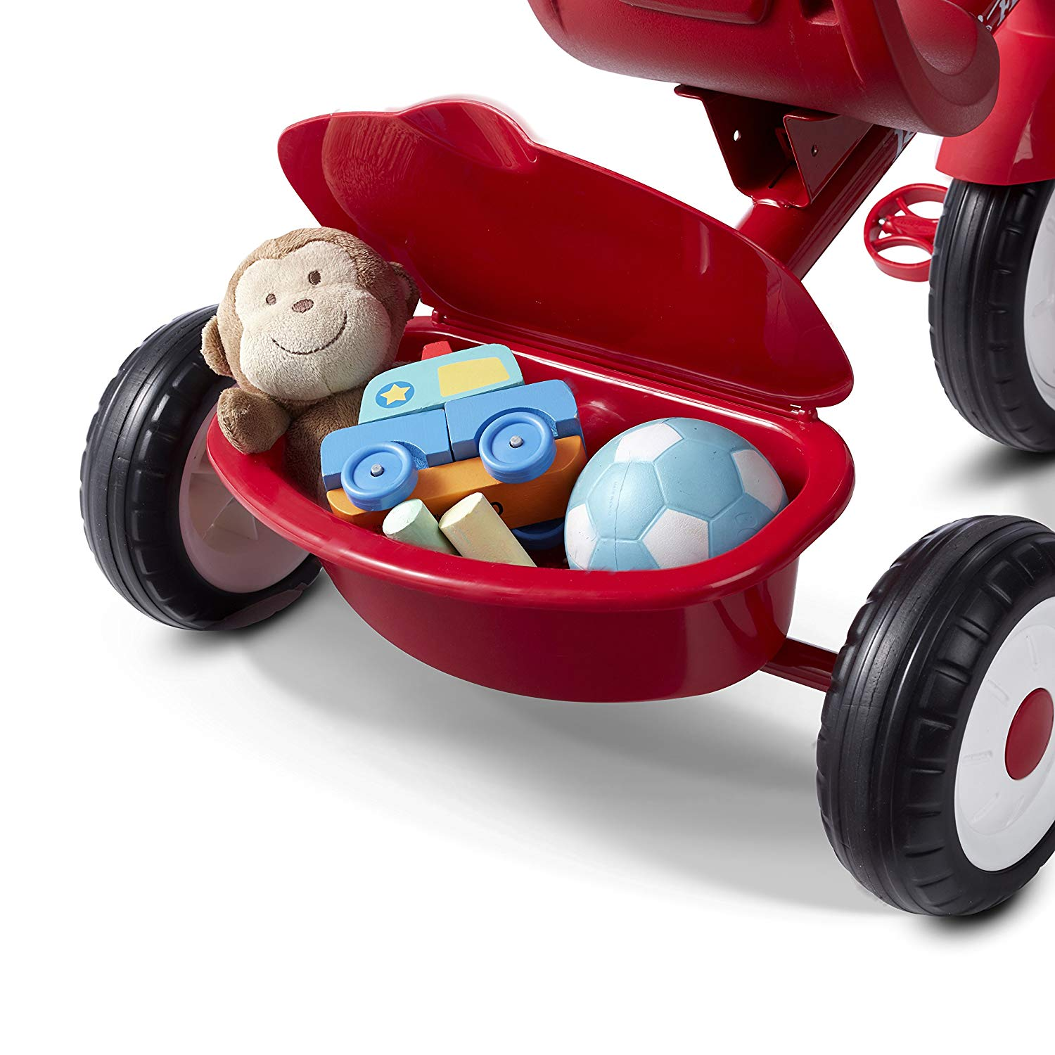 The Radio Flyer 4 In 1 Stroll N Trike comes with a storage compartment