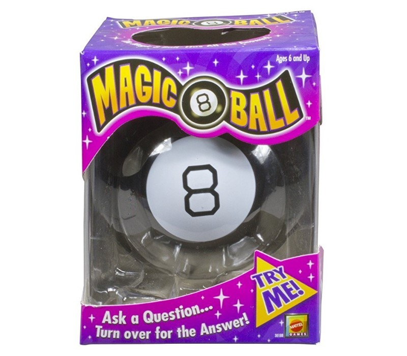 The Magic 8 Ball packaging