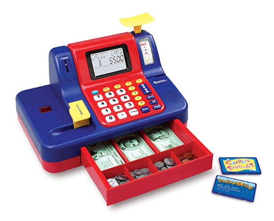 The Learning Resources Cash Register is a classic pretend toy