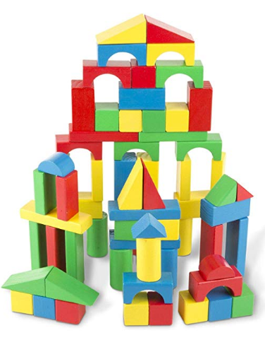 Melissa and Doug Wooden Blocks Building set offers endless building possibilities.