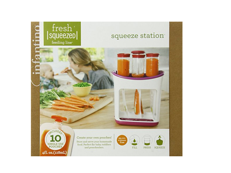 The Infantino Squeeze Station Baby Food Maker comes with a recipe booklet.