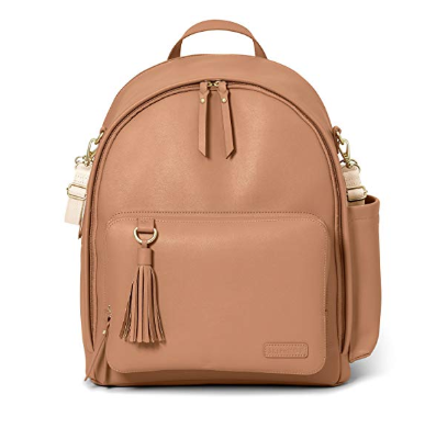 The Skip Hop Backpack Diaper Bag features a trendy design and a vast choice of colors.