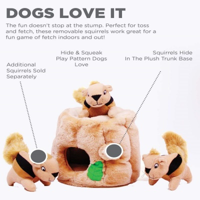 outward hide a squirrel interactive dog toy features