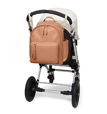 The Skip Hop Backpack Diaper Bag  can be straped on to a stroller for convenient carrying.