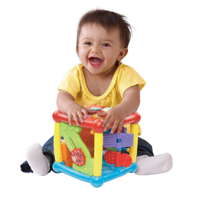 vtech busy learners activity cube kid playing