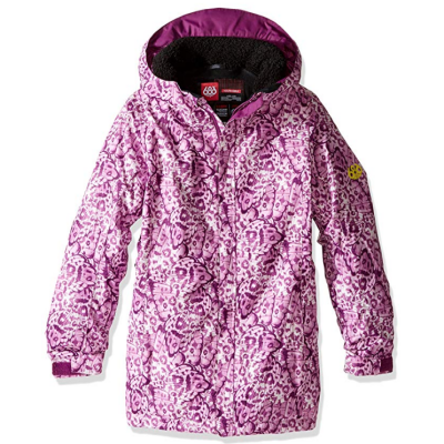 686 girl's floral insulated kids ski jacket polyester