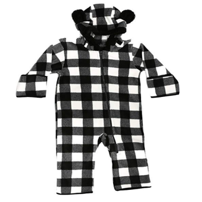 at the buzzer baby snowsuit black and white