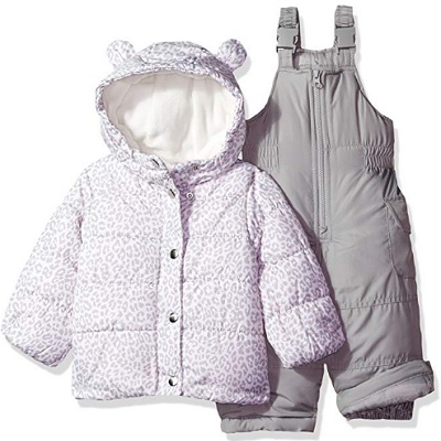 carter's girls' baby snowsuit grey