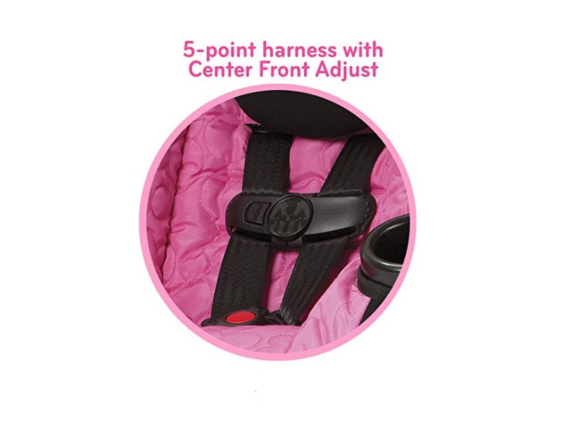The Minnie Mouse Car Seat  has a 5-point harness system.