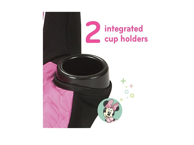 The Minnie Mouse Car Seat comes with 2 integrated cup holders.