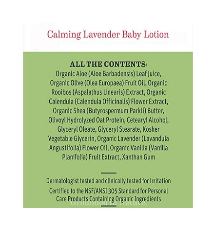 earth mama lavender baby lotion ingredients