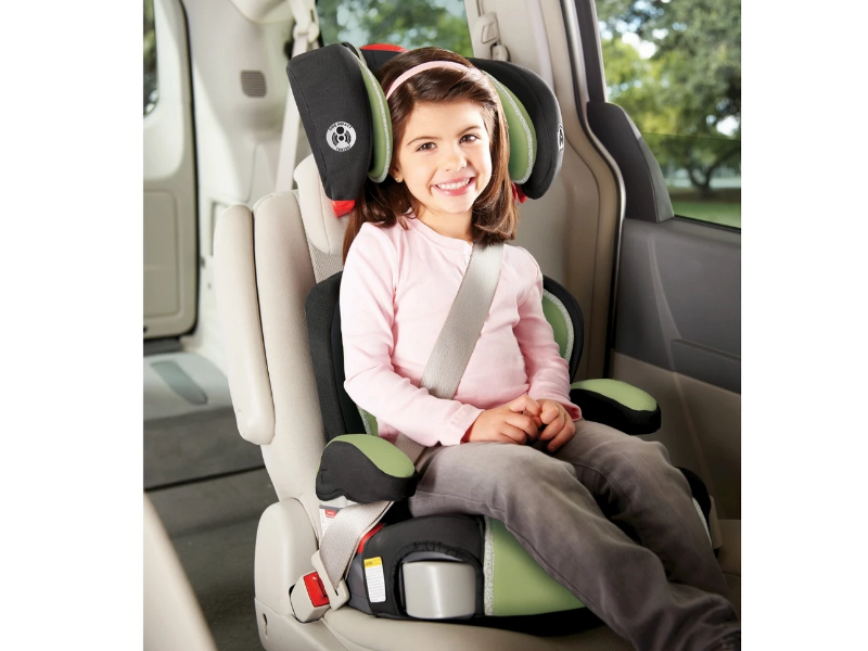 The Graco Highback Turbobooster Car Seat Go Green features an adjustable headrest.