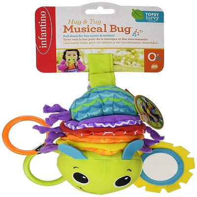 Infantino Hug and Tug Musical car seat toy display front