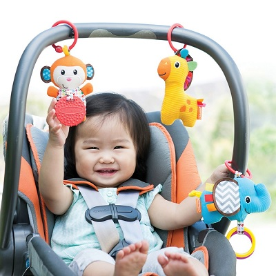 Infantino Tag Along Travel car seat toy front view
