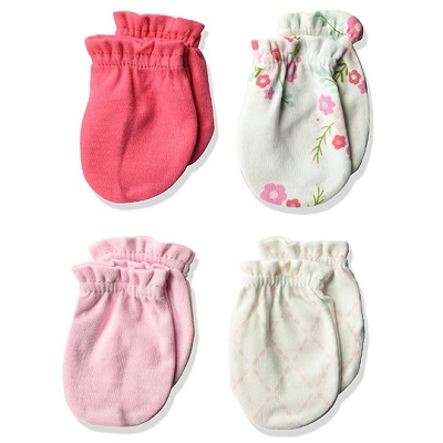 luvable friends baby mittens pink and white