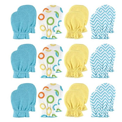 luvable friends baby mittens blue yellow and white