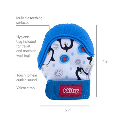 nuby soothing teething baby mittens travel bag features