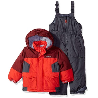 osh kosh b'gosh baby snowsuit red and black