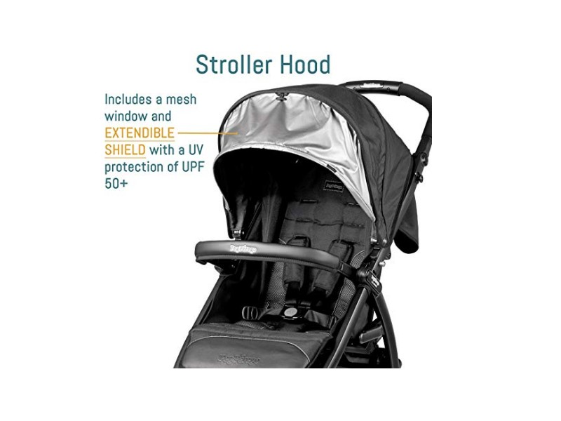The Peg Perego Booklet features an extendible shield for UV protection.