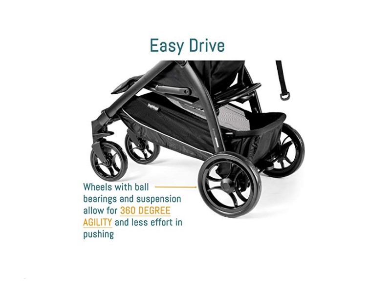 The Peg Perego Booklet's wheels allow for 360 degree agility.