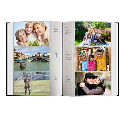 Pioneer Embossed Sewn Leatherette family photo album  inside view