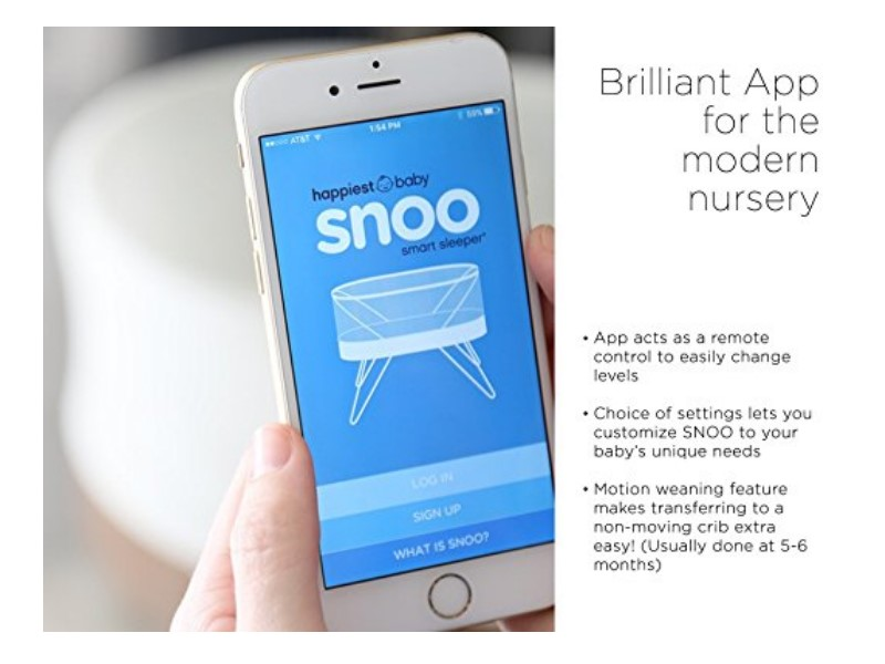 The SNOO Smart Sleeper is connected  to a smartphone app.