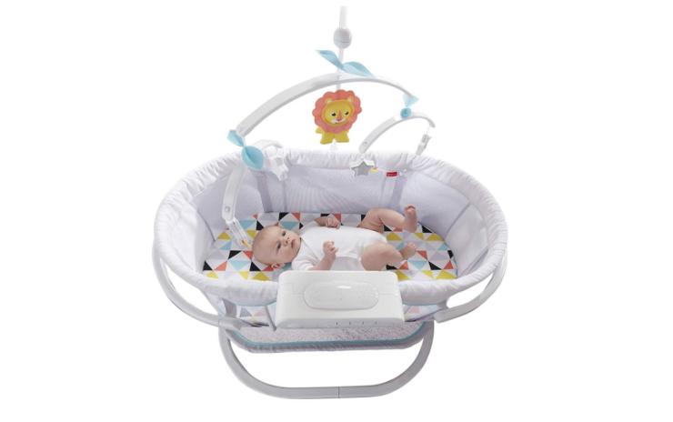 Fisher-Price Soothing Motions Bassinet features a vibrate mode to calm baby down to sleep.