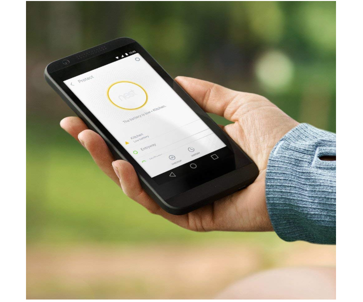 The Nest Protect connects to a smartphone via an app so you can keep track even when on the go.