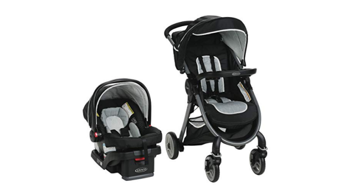 The Graco FastAction Travel System features locking front-swivel wheels.