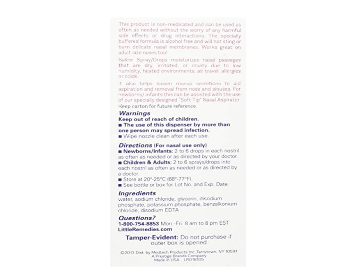 The Little Remedies Sterile Saline Mist is a non medicated product.