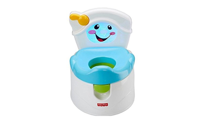 The Fisher-Price Learn to Flush Potty is designed like a mini toilet,