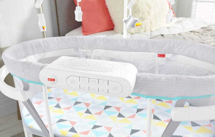 Fisher-Price Soothing Motions Bassinet features a flat mattress to reduce SIDS risk.