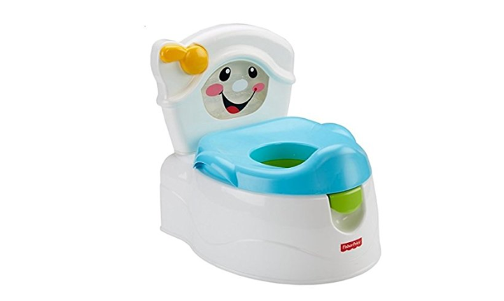 The Fisher-Price Learn to Flush Potty teaches tots how to flush after using the toilet