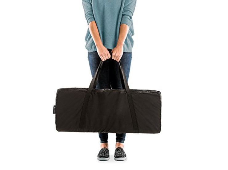 The 4Moms Breeze is easily portable for travel.