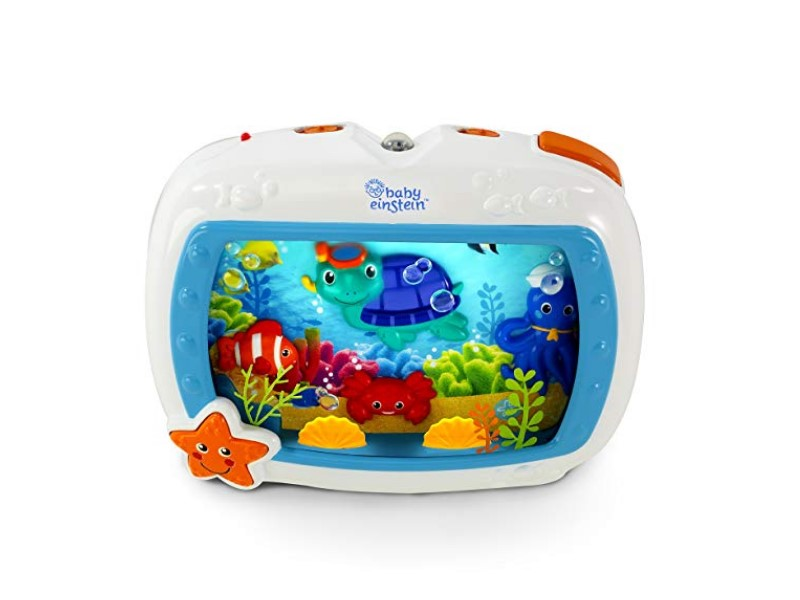 The Baby Einstein Sea Dreams Soother Crib Toy features gradually softening lights.