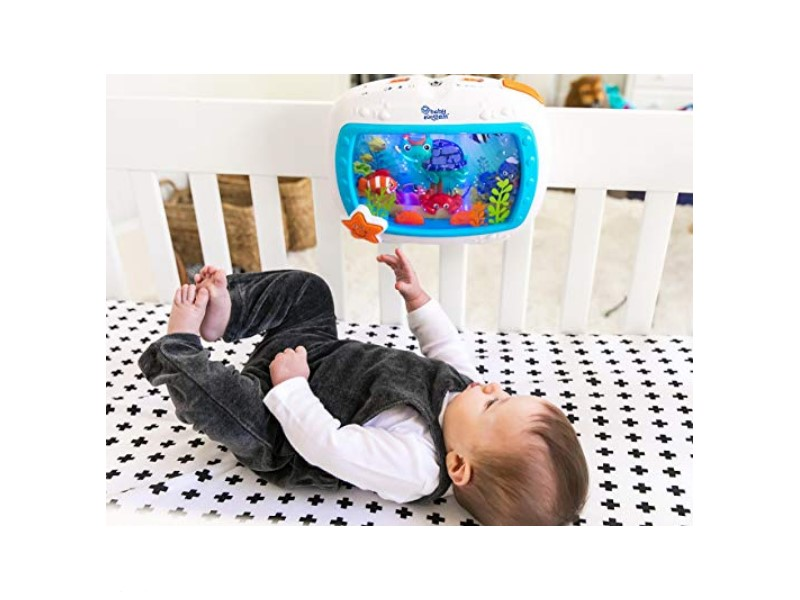 The Baby Einstein Sea Dreams Soother Crib Toy has an easy on/off option.