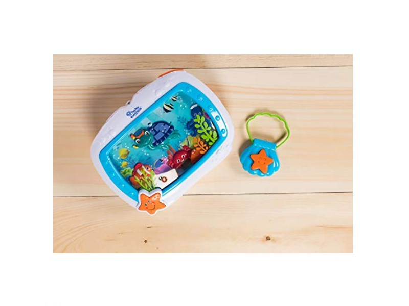 The Baby Einstein Sea Dreams Soother Crib Toy features ocean sounds.